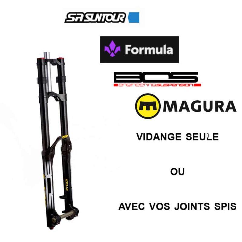 Vidange fourche VTT autres marques: Suntour, Bos, Formula ou Magura
