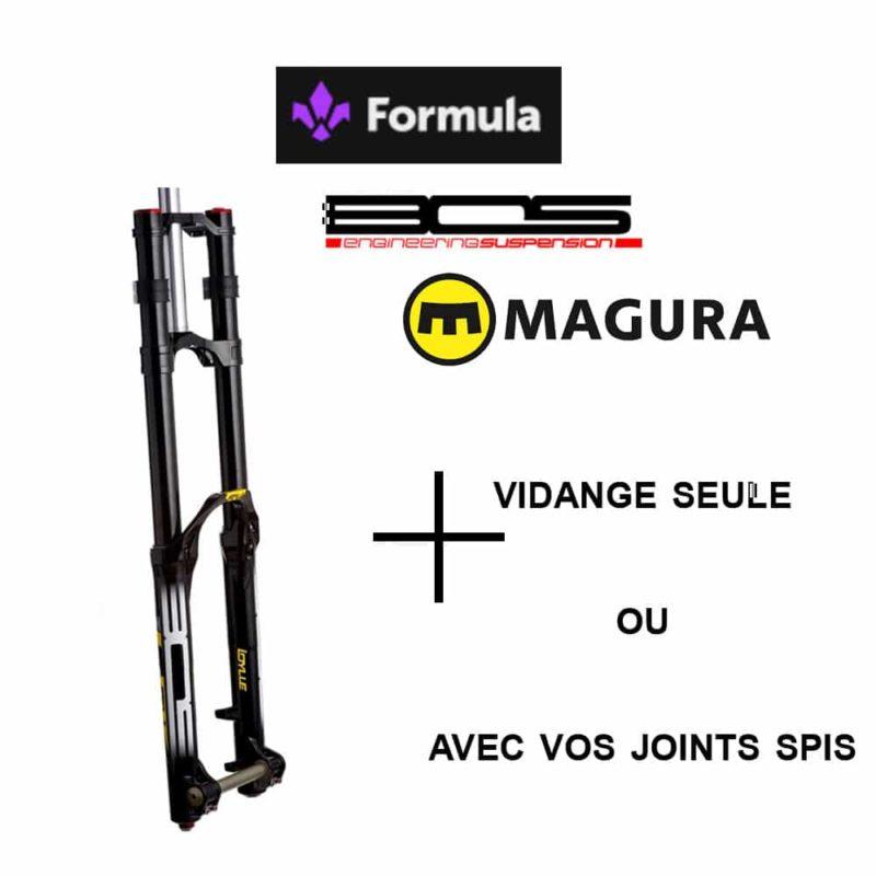 Vidange fourche Bos - Formula - Magura sans changement des joints spis