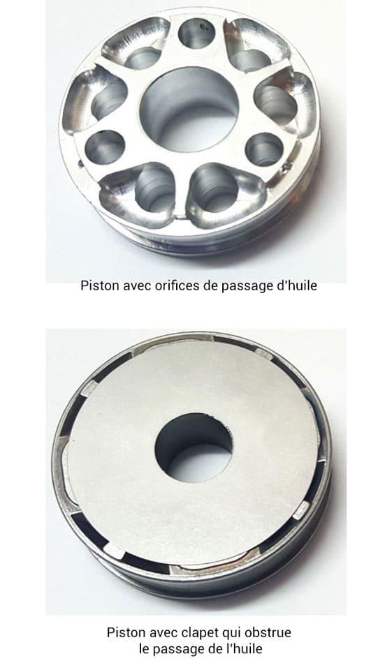 Exemple de piston / clapet d'un amortisseur de moto